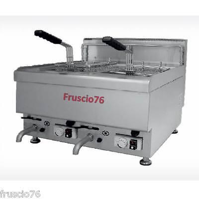 NUOVA FRIGGITRICE A GAS 10+10 LT CON MOBILE NEW!CON RUBINETTO SCARICO BECKERS