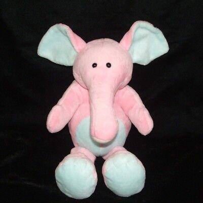 Beverly Hills Teddy Bear Co Pink Blue Elephant Rattle Plush Stuffed Baby Toy 12