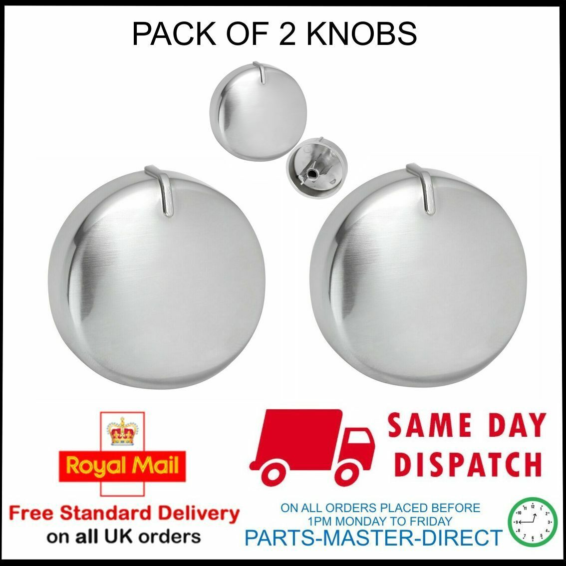 Silver Chrome Switch Knob for DIPLOMAT Oven Hob ADP5820 ADP5824 ADP5840 x 4
