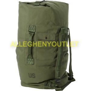 0af75d79bba6 US Military Duffle Bag Duffel Sea Bag OD Nylon Top Load 2 Strap GOOD  CONDITION
