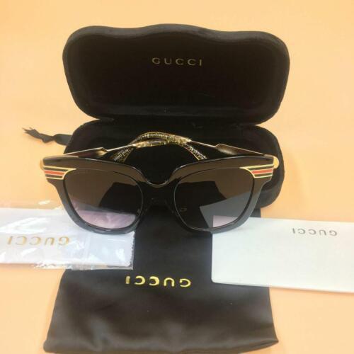 Gucci gg0281 black/gold frame gray gradient lens square glasses