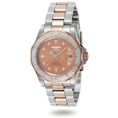 Invicta Men's Watch Pro Diver Rose Gold Dial Automatic Two Tone Bracelet 9423