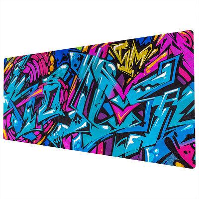 90x40cm Extra Large Xxl Mouse Mat Pad Full Desk Pc Blue Pink Graffiti Uk