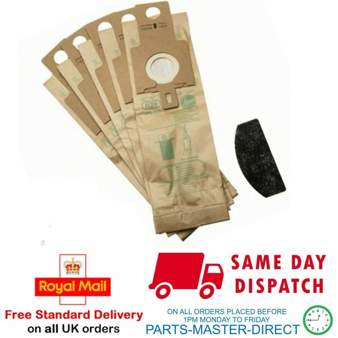H20 Dust Bags Pack Of 5 Dust Bags for Hoover U3160 U3160 001 U3232 011