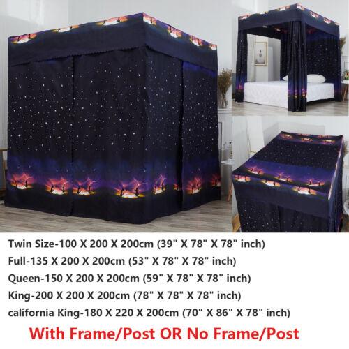 Black Galaxy Four Corner Post Bed Light Shading Curtain Cano