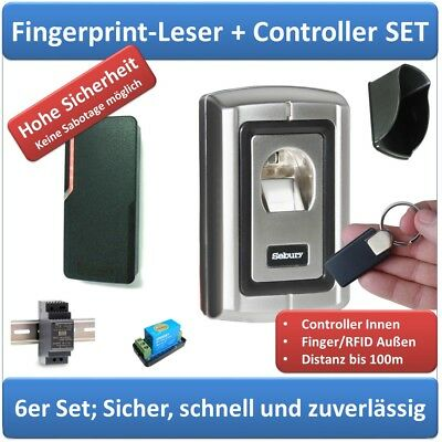 Zutrittskontrolle komplett: Fingerprint+RFID+Netzteil+Wetterdach+Relais+RFID-Tag