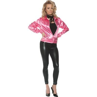 1950s Nifty Fifties Pink Satin Jacket Zip Front Adult Women's Costume XS-XL