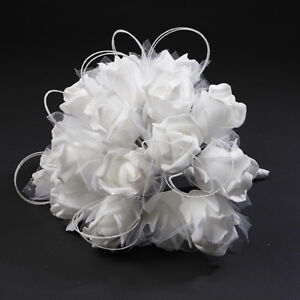 Wedding Bridal Posy Bride Bouquet Flower Girl Bridesmaid White Cream Flowers