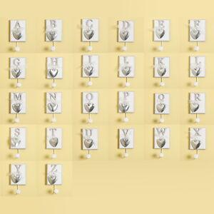 Shabby Chic Letter Coat Key Hangers Hooks Silver Hearts