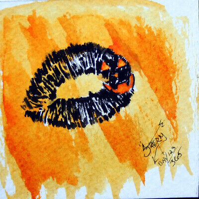 HALLOWEEN KISS LIP PRINT ART JACK-O-LANTERN PAINTING WATERCOLOR TATTOO CUTE - Lip Painting Halloween