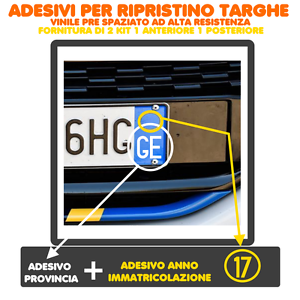 2-COPPIE-ADESIVI-2ANT-2POST-TARGA-AUTO-PROVINCIA-ANNO-RIPRISTINO-TARGHE-TOP