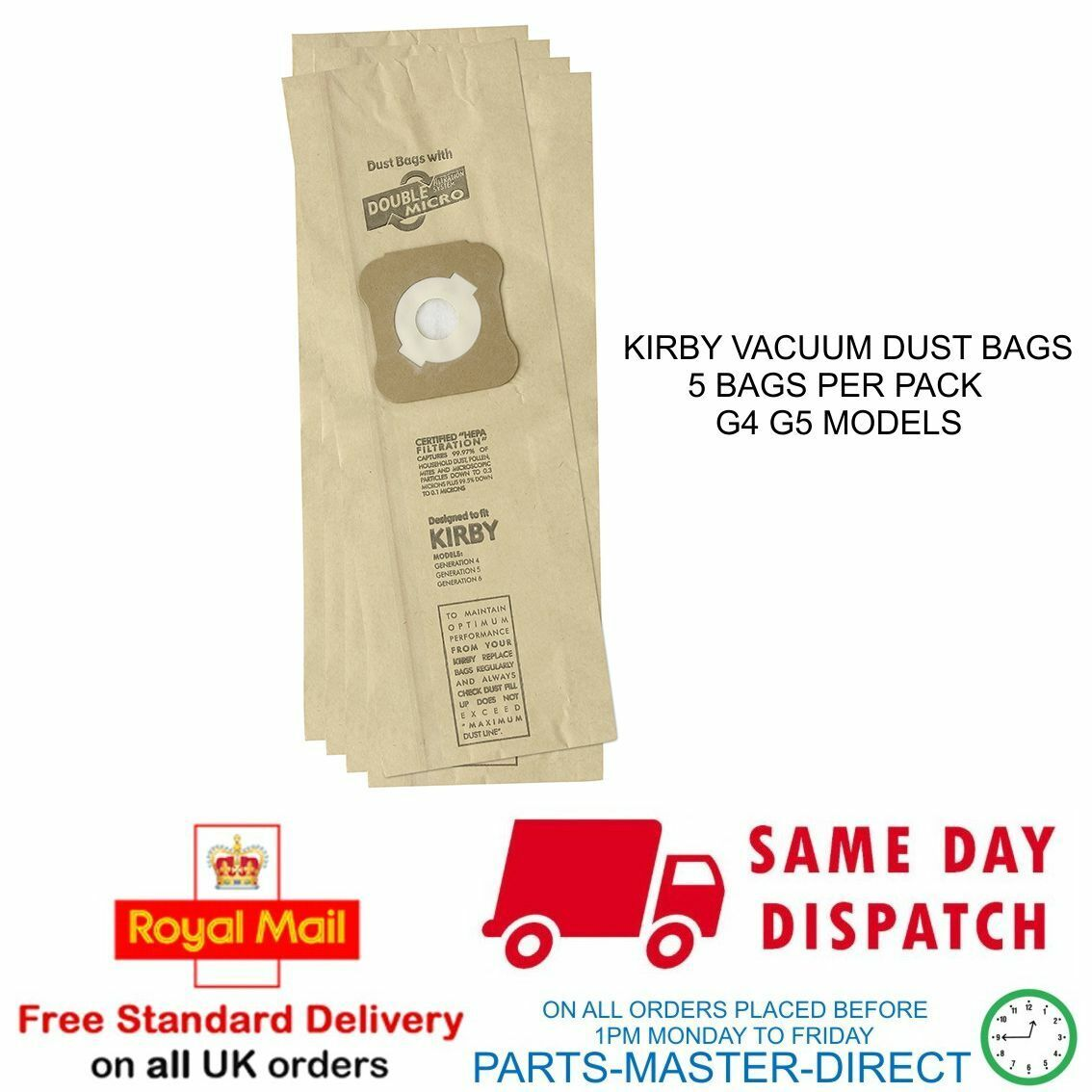 5 Pack Vacuum Cleaner Hoover Bags For Kirby G4 G5 G6 G7 G2000 G2001 Ultimate G