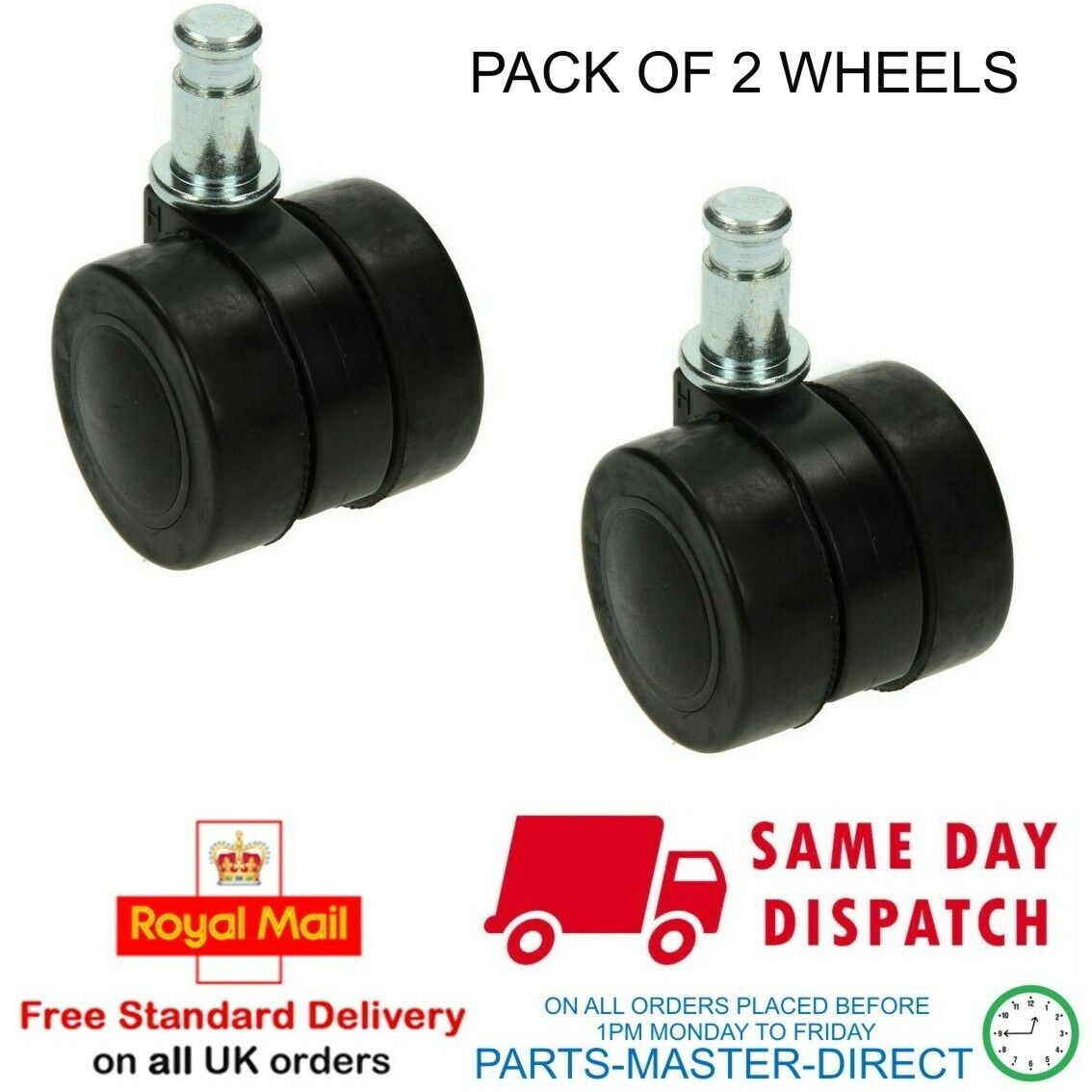 2 X Numatic Henry Hetty Hoover Compatible 40mm CASTOR WHEEL Equivent to 204000