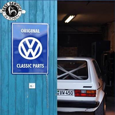 "Original VW Blechschild - ""VW Classic Parts"" - blau - VW Retro - KFZ - Auto"