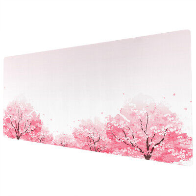 90x40cm Extra Large Xxl Mouse Pad Mat Full Desk Pink White Cherry Blossom Trees