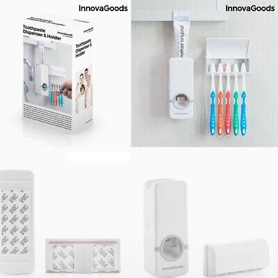 Dispensador pasta de dientes + soporte organizador para 5 cepillos, adhesivos 3M