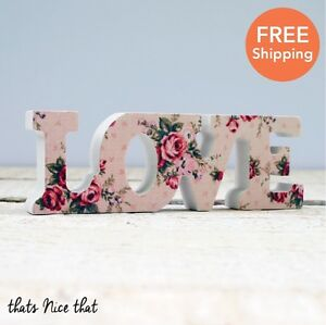 Small Floral Love Letters Wooden Home Decoration Wedding Gift Sign Table Top Fun