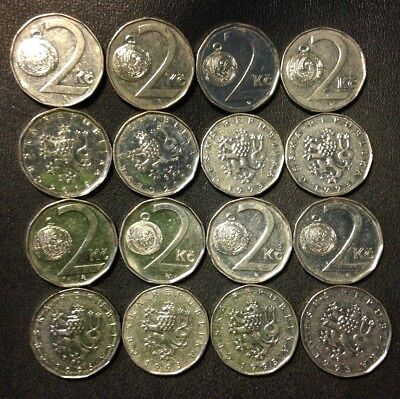 Old Czech Republic Coin Lot - 16 TWO Korun Coins - High Grade - FREE SHIPPING