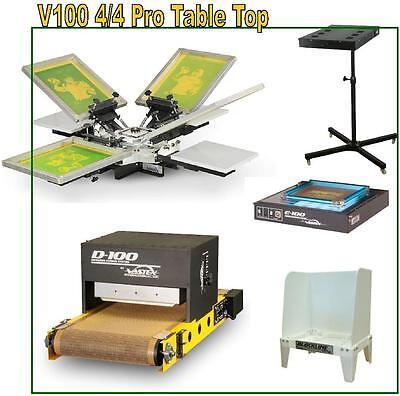Complete Shop Vastex V-100 Screen Printing Press 4 Station4 Color Supply Pkg