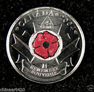 Canada-25-Cents-Coin-Remembrance-Day-Poppy-2004-Colored-UNC