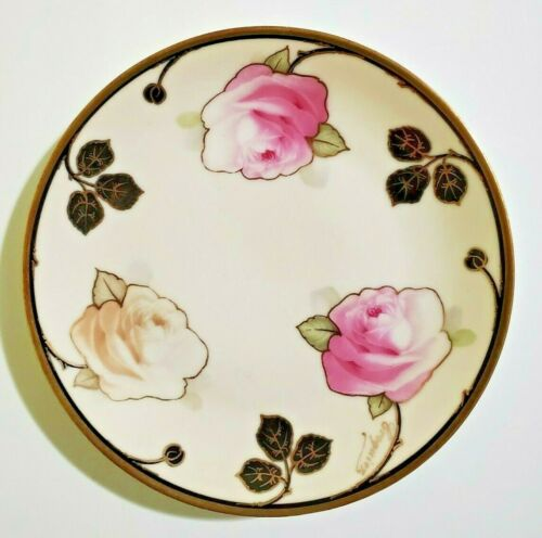 ZS&Co Bavaria Royal Munich hand signed plate, hand painted with roses and gilded