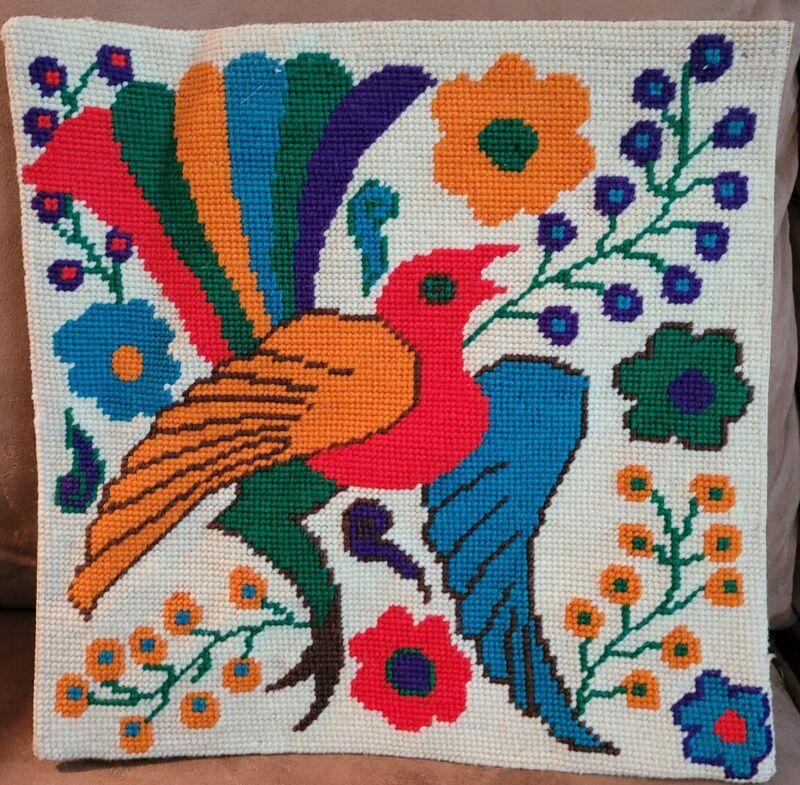 """Vintage Finished Embroidered Needlepoint Needlework Bird Flowers 12"""" x 12"""""""