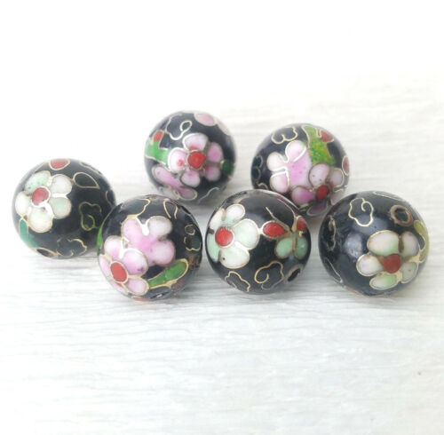 VTG Black Mixed Flowers Butterflies Cloisonne Enamel Some Damage 12mm 6Beads