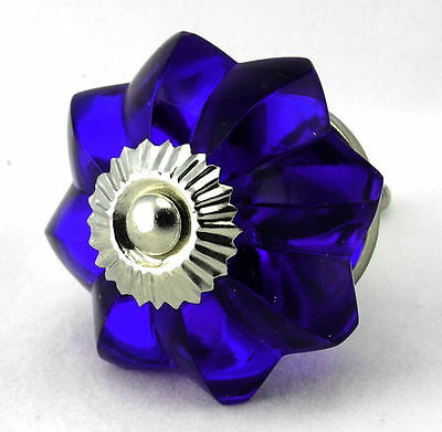 cupboard knobs cobalt blue flower shaped cut glass with chrome fittings