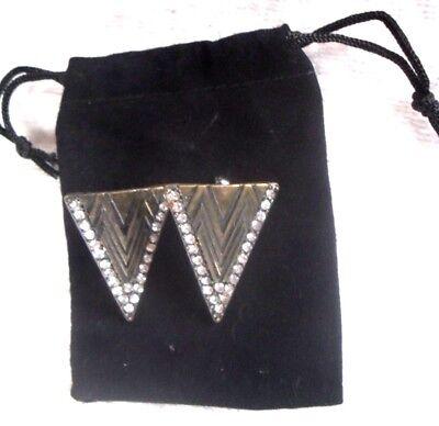 Antique Brass Crystal Type (Vintage Art Deco Unused Antique Brass Inset with Crystal: Stud Type Earrings Set )