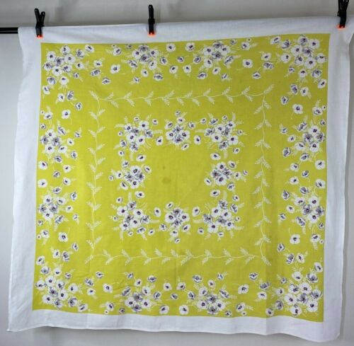 VIBRANT Lemon Yellow VINTAGE Mid Century Tablecloth Gray White Poppy Flowers
