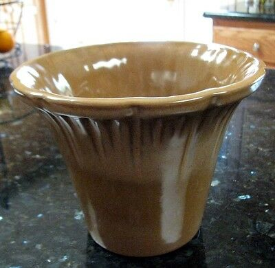 Frankoma A7 Satin Brown Jardiniere Wide Flared, Fluted circa 1970s-80s