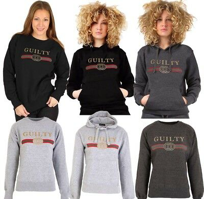 Ladies Womens Guilty Sweat shirt Designer Inspired Slogan Print Hoodie Top new Womens Hoodie Sweat