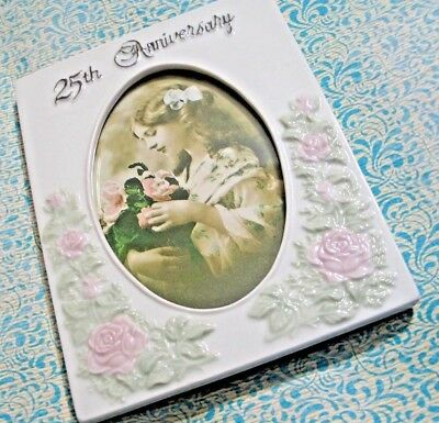 """Porcelain Photo Frame 25th Silver Anniversary Repousse Roses & Leaves 6.5"""""""