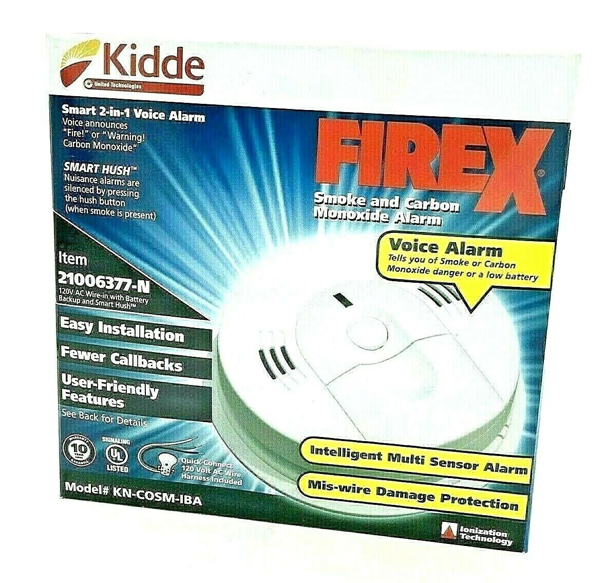 10X Kidde KN-COSM-IBA Hardwire FIREX Combination Smoke/Carbon Monoxide Alarm