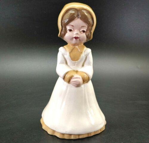 OOK Vintage Porcelain Bonnet Girl Bell Dongle Feet Signed 1980