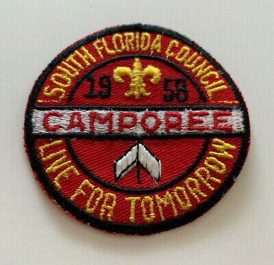 Vintage 1958 BSA Boy Scouts CAMPOREE South Florida Council EMBROIDERED PATCH