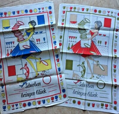 Vintage 1940 - 50's Novelty Kitchen Tea Dish Towel set of 2 made in Germany