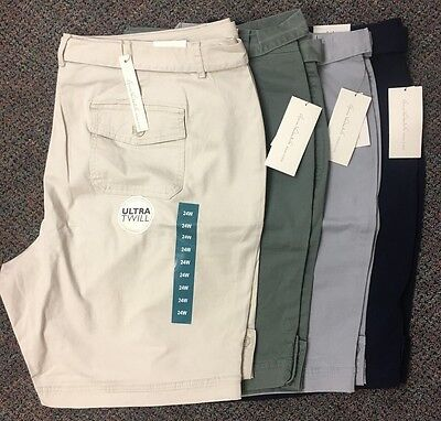 Nwt Womens Gloria Vanderbilt Sierra Belted Bermuda Shorts Twill Cotton