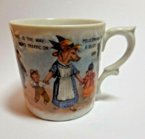 Antique Victorian Child's German Transfer Cup - Unusual Pigs,Fox,Policeman