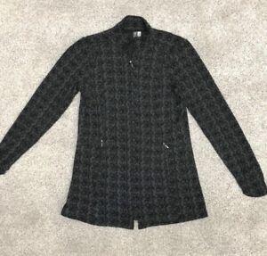 Ibex Women's Full Zip Merino Wool Sweater Sz Large L Gray / Black Pattern