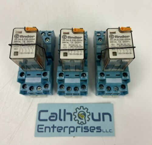 (LOT OF 3) FINDER 94.74 Relay Socket with 55.34.8.230.0054 Relay *WARRANTY*