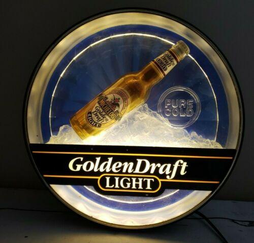 """Vintage Michelob Golden Draft Beer Lighted 3D Sign 17"""" x 5"""" Man Cave Bar 1992"""