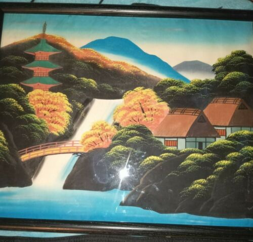 Signed Japanese Silk Painting of MT Fuji.