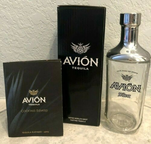 Avion Tequila Ultra Premium Glass and Brushed Stainless Steel Shaker New in Box