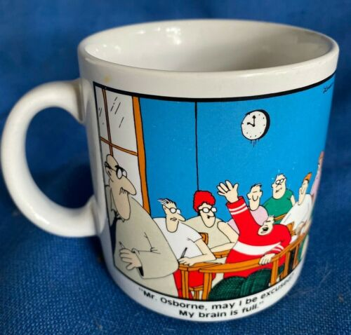 "THE FAR SIDE 1986 Gary Larson ""My Brain Is Full"" Coffee Mug Tea Cup Fat Kid EUC"