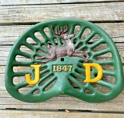 Vintage John Deere Cast Iron Tractor Seat 1847 6 Antlers 4 Legs Logo