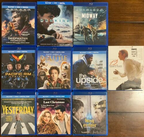 10 Blu-ray lot: Dunkirk Midway The Upside Yesterday Last Christmas Dolittle etc