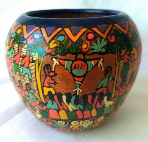Vintage FOLK ART Terracotta Vase ~ SIGNED Storyteller Hand Painted Pottery