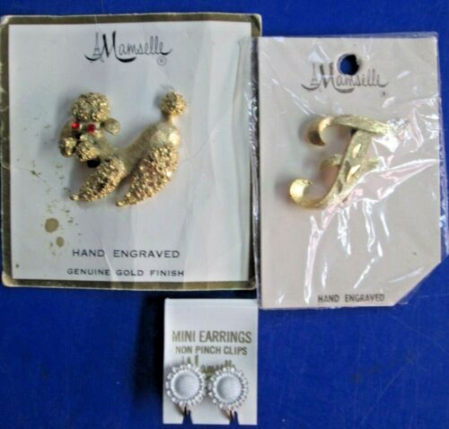 Lot of 3 Mamselle Paris Vintage Jewelry 2-Brooches 1 pair Clip Earrings Poodle