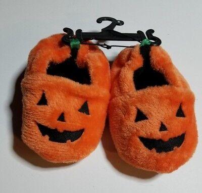 PUMPKIN SLIPPERS INFANT BABY SIZE 5 & 6 JACK O LANTERN HALLOWEEN NWT SHIPS FAST ](Halloween Slippers)